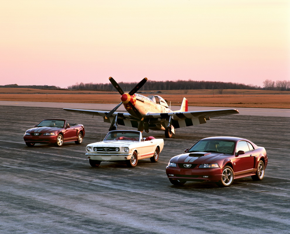 2004 Ford Mustang Anniversary edition and 1965 Mustang with P 51
